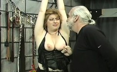 Rough spanking and harsh thraldom on woman's cum-hole