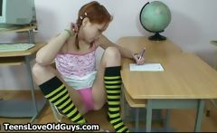 Cute redhead teen showing
