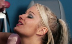 Chubby British babe facialized with huge load