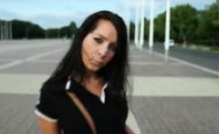 Brunette teen outdoor pov