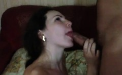 The horny brunette in extreme amateur pov blowjob