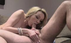 Blonde in lingerie fucks huge cock agent