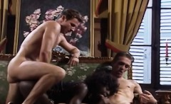 Interracial double penetration scene with hot African whore