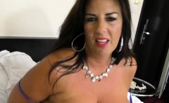 Busty mom toying her shaved cunt