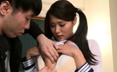 Asian teen in maid uniform