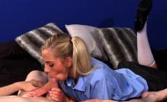 Teasing schoolgirl dominates sub during CFNM