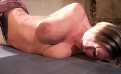 Inked blonde bdsm sub gagged and restrained