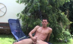 Gaberussel enjoys playing with his cock and asshole outdoors
