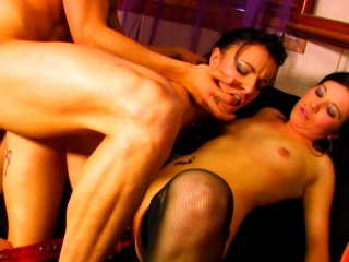 Two Brunettes Join For A Threesome