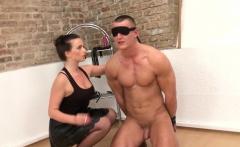 Femdom restrains bdsm sub for anal toying