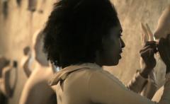 Black latina MILF fucks her partner in a scifi prison