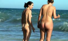 Amateur Couple On Public Beach