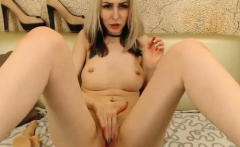 Russian Blonde Babe Fingering and Toying Her Pussy