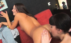 Ass licking fun with two brunette babes