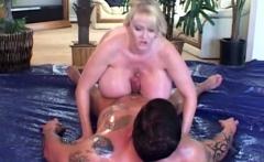 Blonde With Humongous Fake Tits Fucks