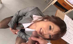 Hot Asian teacher blows her student and plays with his cum