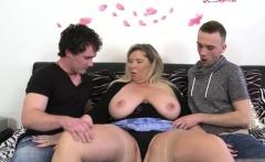 Big tits milf threesome with cum on tits
