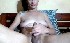 Amateur Tgirl wanking cock on webcam