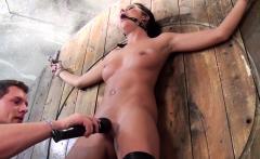 Ballgag sub toyed while bound by her maledom