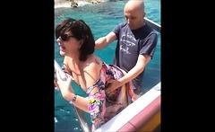 Doggystyle fucking a big tit brunette MILF
