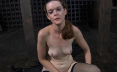 Ravishing chick taken out from cage for hardcore torment