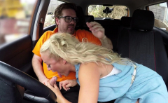Fake Driving School Sloppy titwank and backseat blowjob