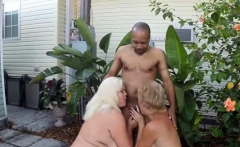 Two Mature Blondes Share One Black Cock