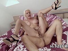 HITZEFREI Hot blonde German MILF found a fuck buddy