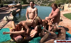 4 ladies swapping husbands in an orgy