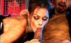 Threesome with hairy milf in swinger club