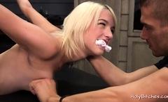 Obedient blonde slave gets fucked hard