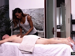 Busty Ebony Shemale Masseur And Client Fuck Each Other