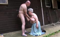 Fat grey grandma blows