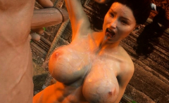 3D Fit Girl Destroyed by an Orc!