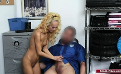 Petite blonde fucked by officer for stealing expensive item