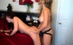 Horny lesbian lick and strapon sex