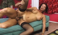 Hairy lady makes a huge cock disappear