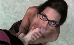 PORNSTARPLATINUM MILF Mindi Mink Sucks Off Strapon Cock