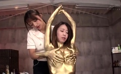 Subtitles thick lesbian Japanese milf kissing massage