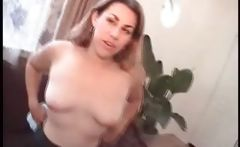 Brunette rides this hard cock and gets a creampie for her