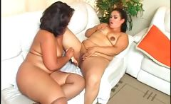 Brunette BBW lesbos share sex toys and hot licks
