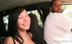 Busty amateur girl riding the sex bus for a fuck
