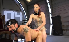 Stern domme binds pathetic slave before riding useless cock