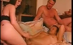 Sexy brunette slut gives a helping hand