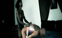 Black Dominant Shemale Use Saran Wrap on Submissive Slave p2