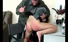 Amazing brunette babe gets spanked