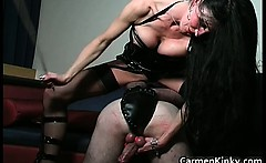 Kinky and weird dark head slut tied dude